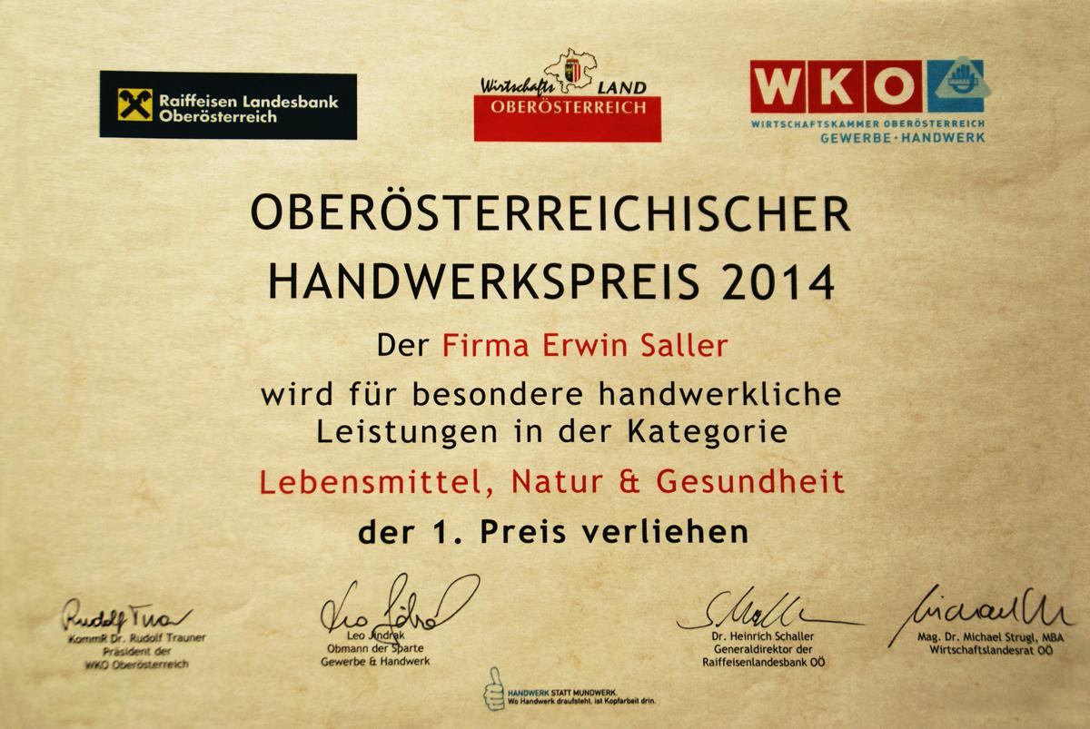 Urkunde Handwerkspreis